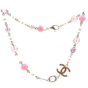 Gold Pink Pearls Cc Beads Hardware Choker Necklace